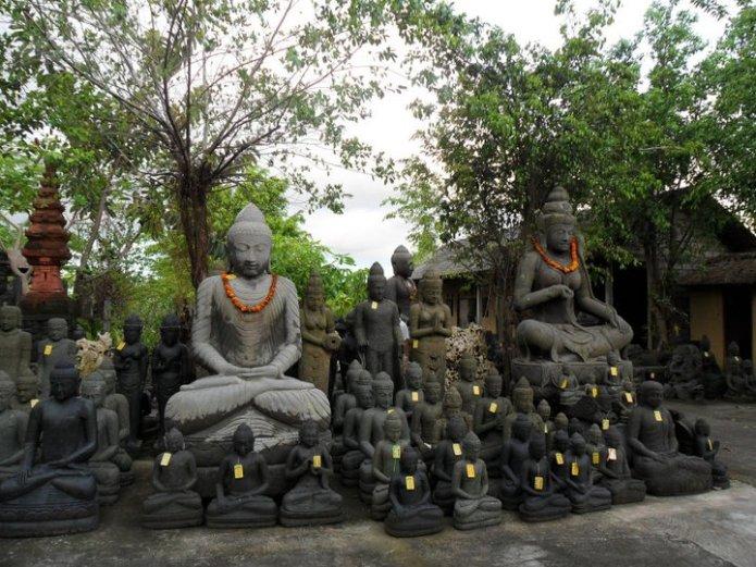 Ceramic Bhuddas at a store in Canggu, Bali