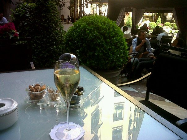 Glass of champagne at the Four Seasons George V in Paris