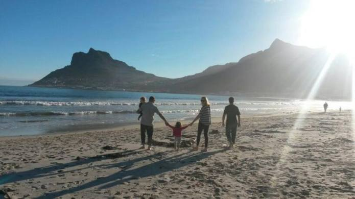 Family on Hout Bay beach